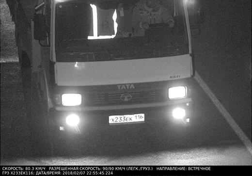 Пример работы камеры дорожного движения ночью